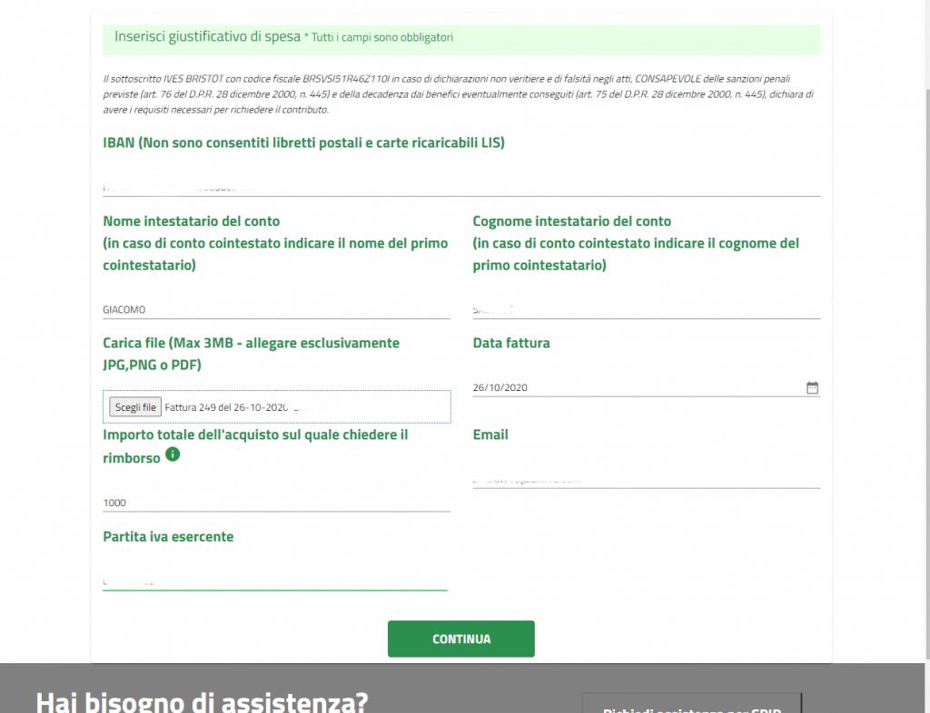 Form inserimento dati per il bonus mobilità