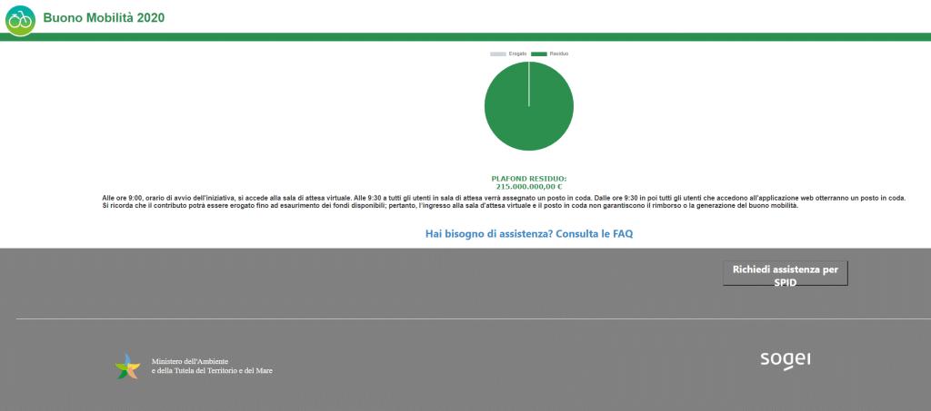 Home page del bonus mbilità