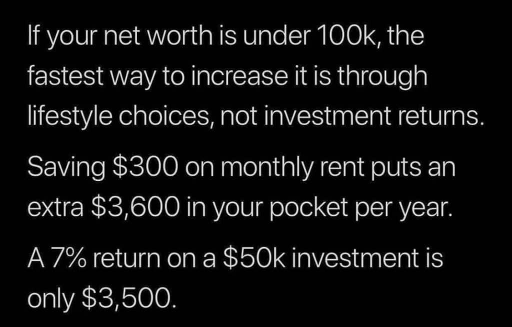Risparmiare 300 € al mese significa 3600€ all'anno. Un rendimento del 7% su 50000€ è di 3500€