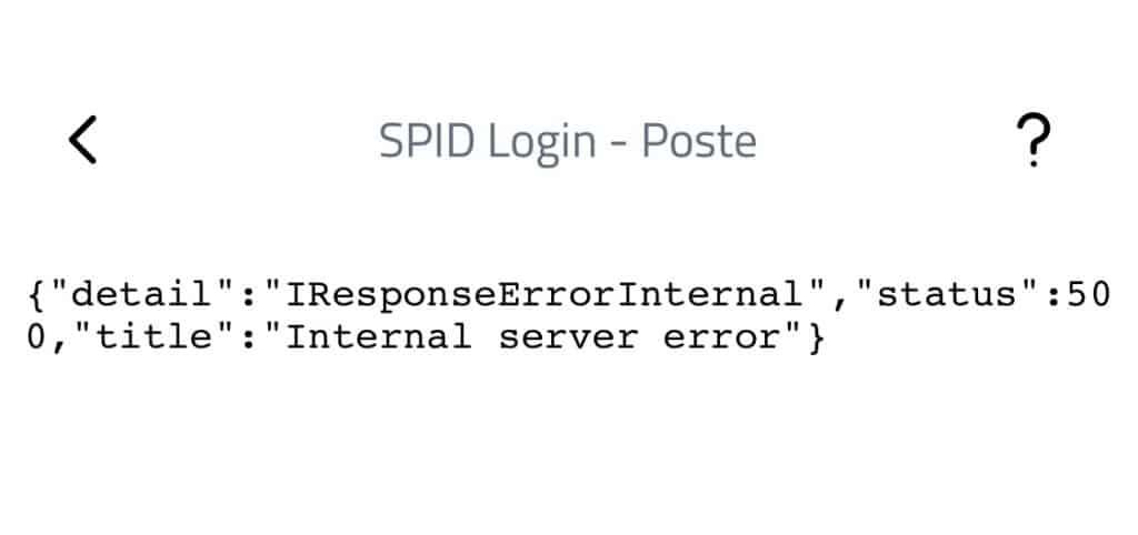 Pagina di errore del login con SPID di poste italiane