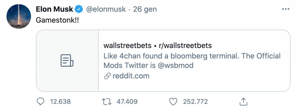 Tweet di Elon Musk su GameStop