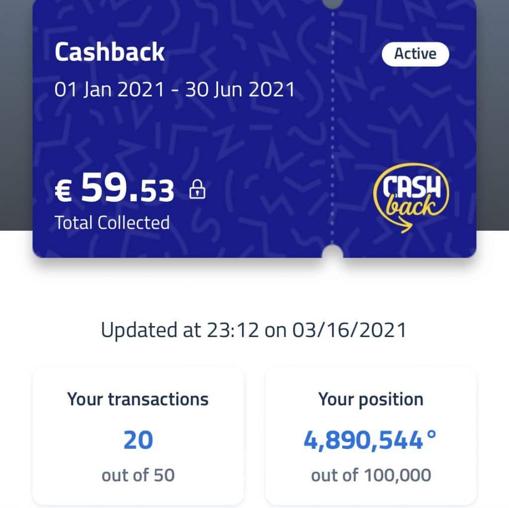 Stato d'avanzamento del mio cashback