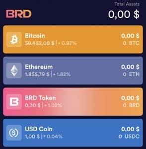 Home page della app BRD