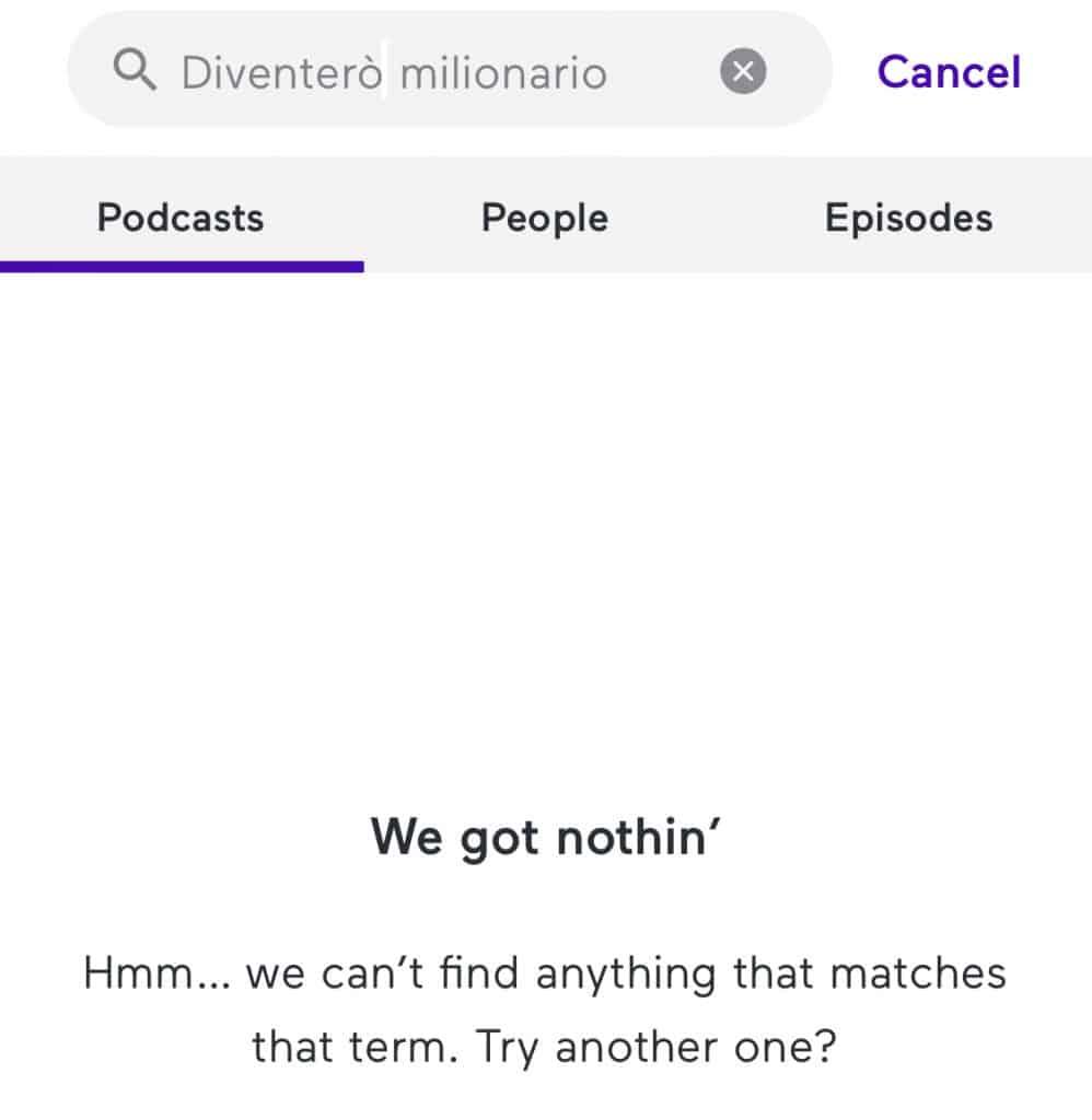 Non trova il mio podcast su Anchor