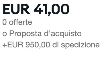 Spese di spedizione a 950€