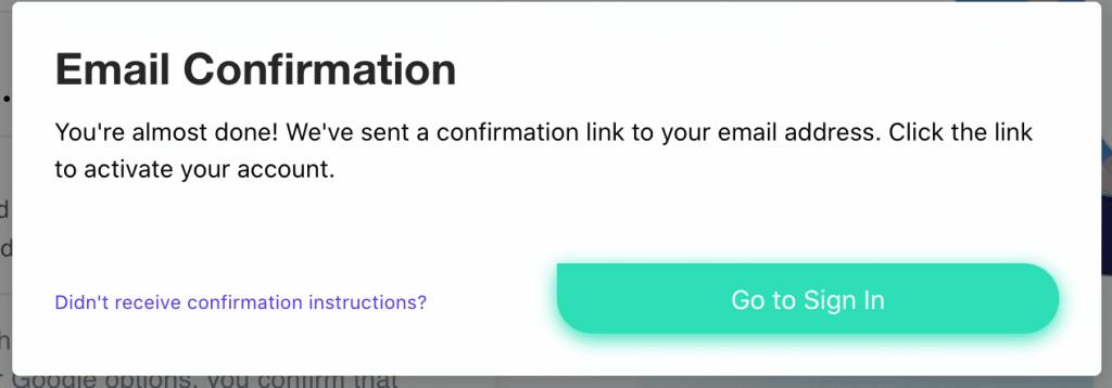 Link per l'attivazione dell'account inviato