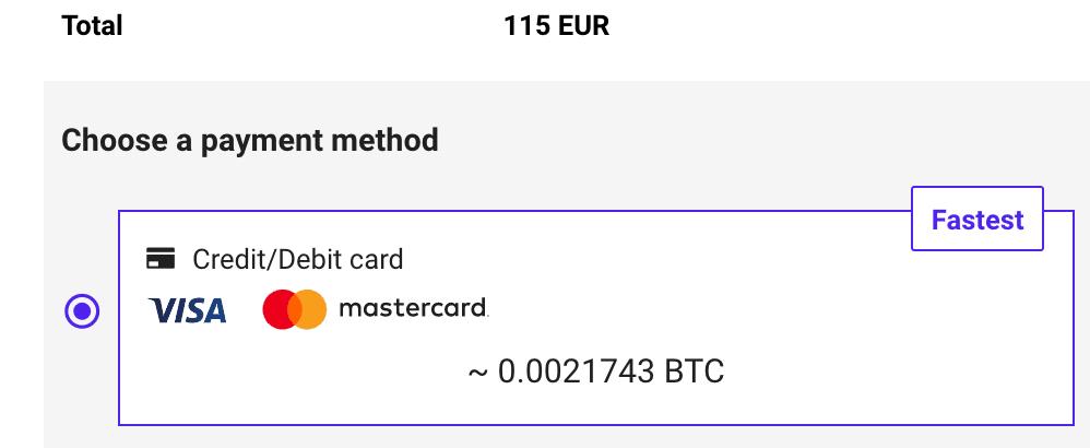 Commissioni per comprare bitcoin con  carta di credito