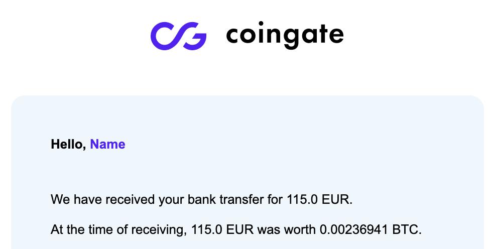 Conferma di avvenuto pagamento e di accredito sul mio wallet