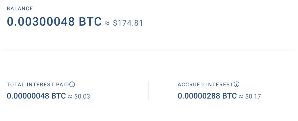 Nella sezione interessi possiamo capire come vanno i nostri guadagni di Bitcoin