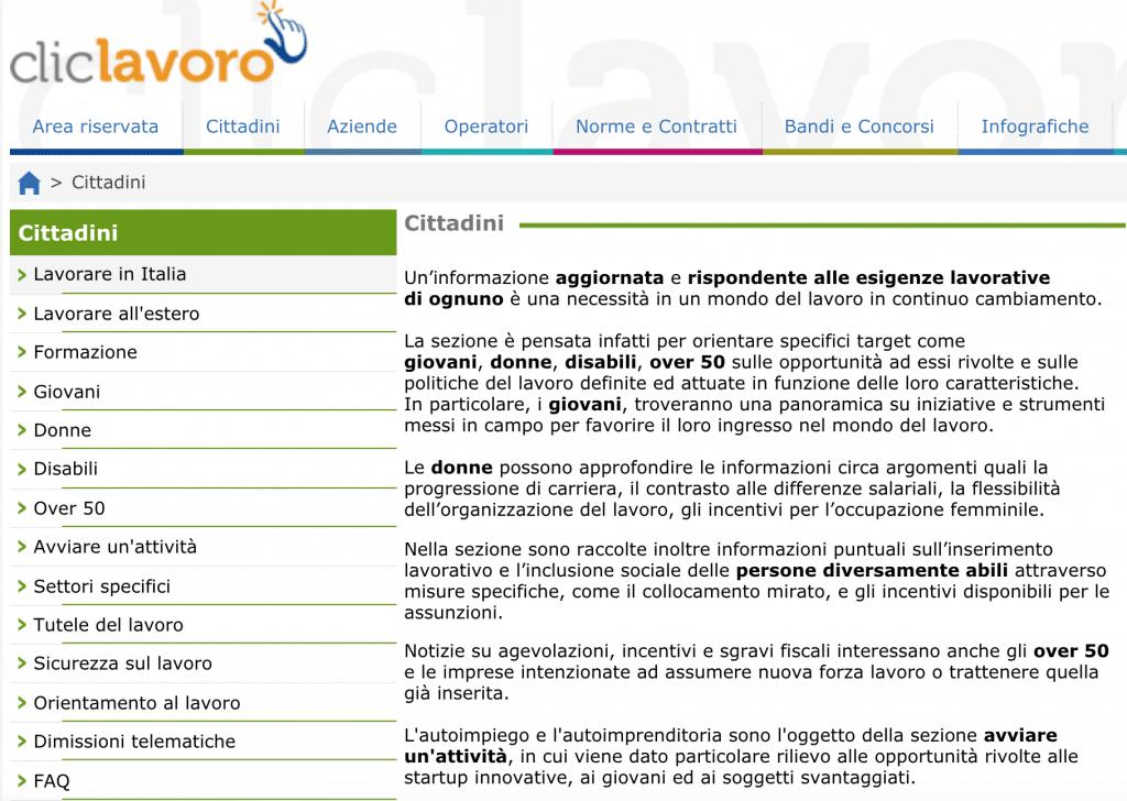 Home page di Click Lavoro