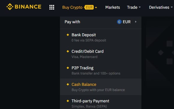Voce di menu per comprare Bitcoin su Binance