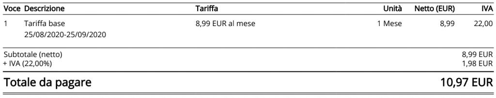 Tariffa base di Ionos.it