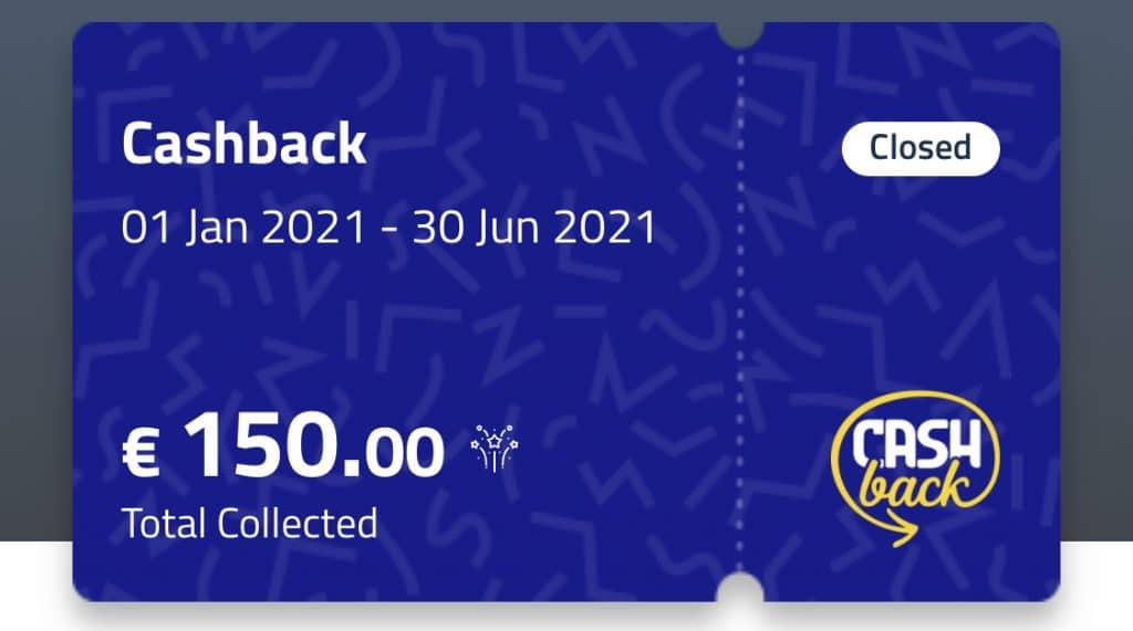 Ho raggiunto il massimo possibile, ovvero i 150€ del cashback.
