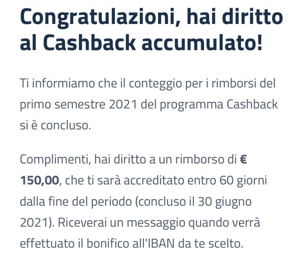 Tempistiche entro le quali riceveremo i 150€ del cashback