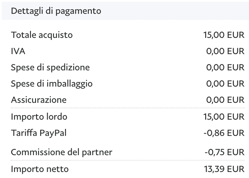 Dettaglio delle trattenute di BuyMeACoffe e PayPal