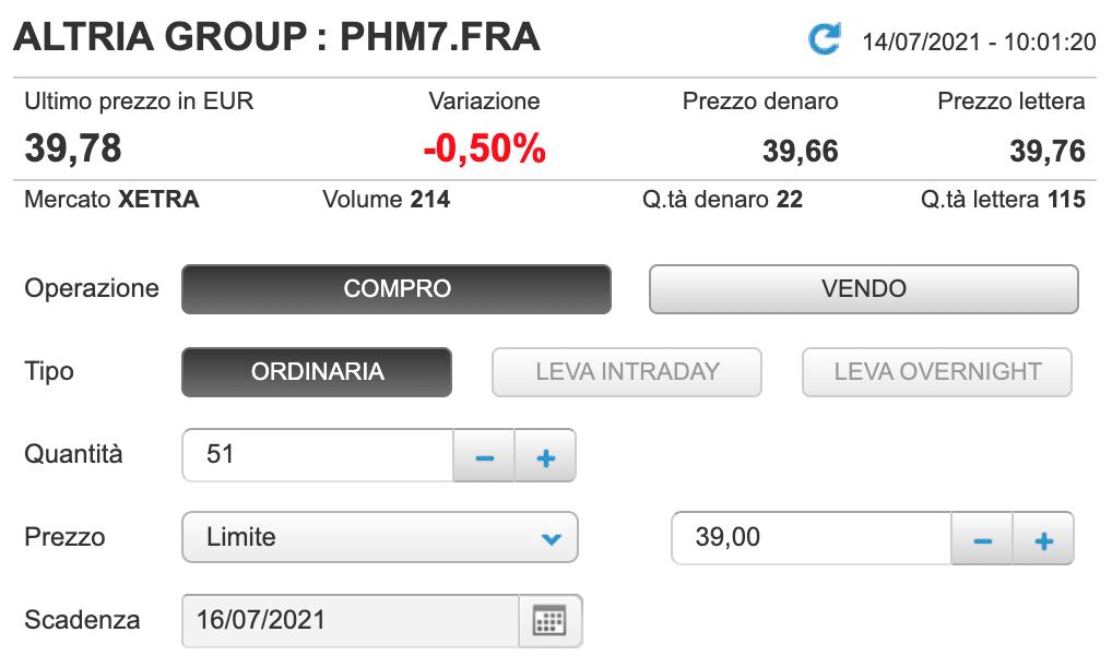 Prezzo limite a 39€ per Altria Group