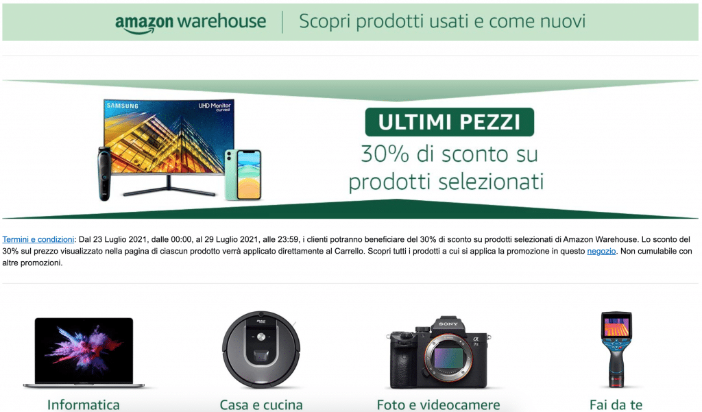 Home Page di Amazon Warehouse