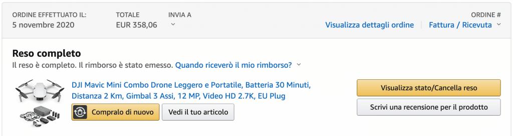 Ordine DJI Mavic Mini su Amazon Warehouse