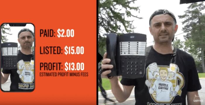 Gary Vee e i guadagni da Garage Sale. Un telefono comprato a 2 dollari viene venduto a 15