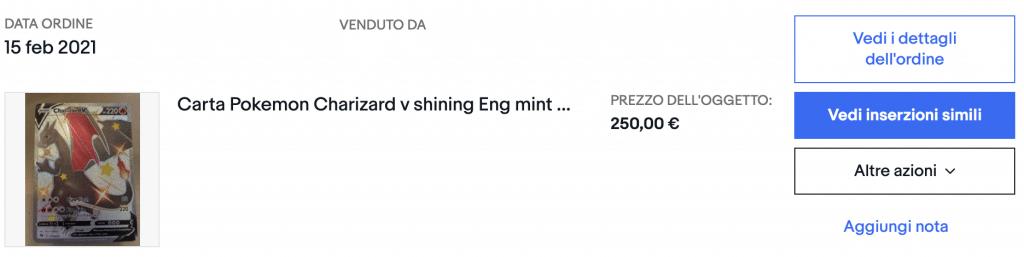 Acquisto di un Charizard V su eBay