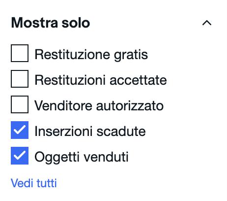 """Utilizza il filtro """"Oggetti Venduti"""" per capire a quanto vendere oggetti online"""