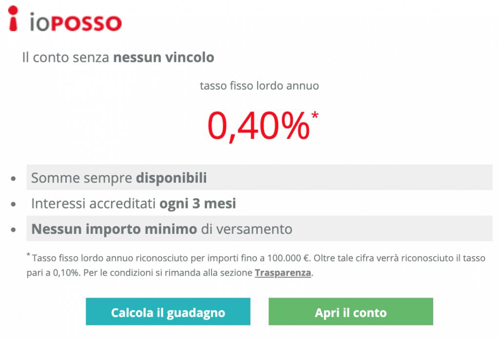 Tasso del conto corrente Santander IoPosso è sceso allo 0.3%