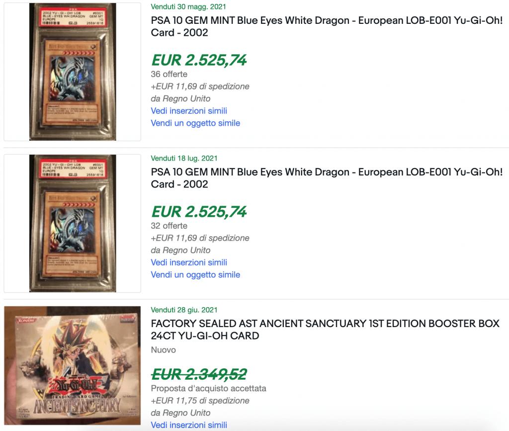 Carte di Yu-Gi-Oh vendute ultimamente su eBay