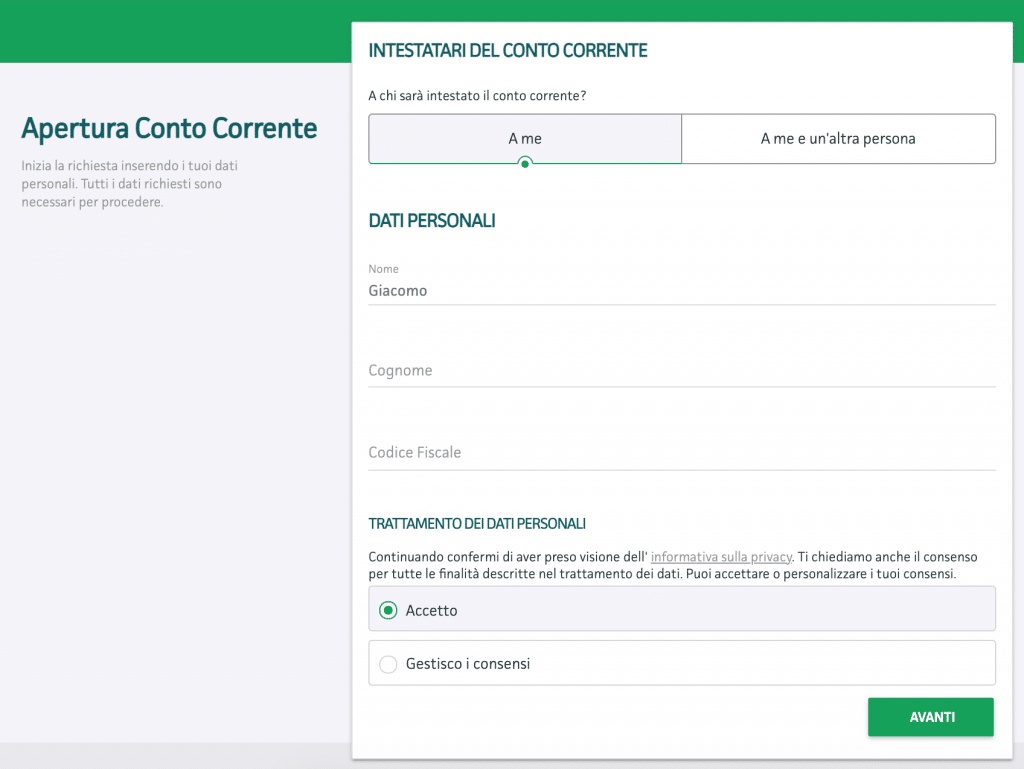 Registrazione con i dati personali su Findomestic