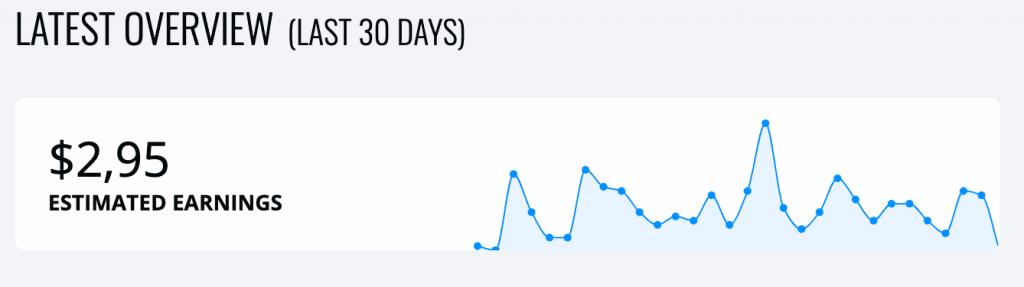 Guadagni di Ezoic nei primi 30 giorni.