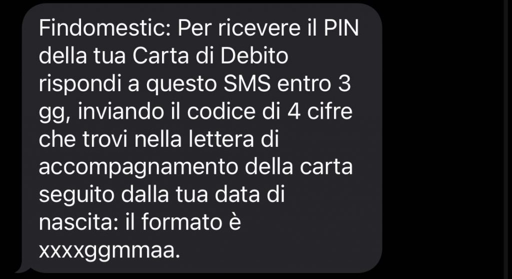 Richiesta PIN via SMS