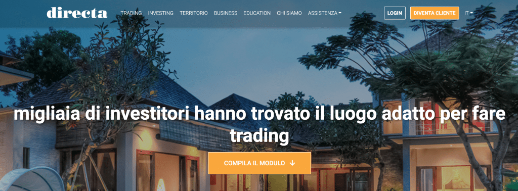 Home page di DIRECTA dalla quale procederemo con l'iscrizione