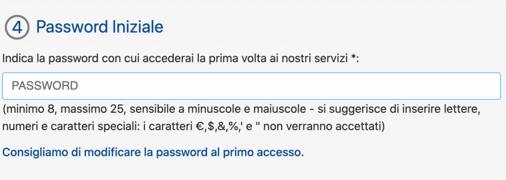 Inserire una password temporanea per aprire un conto DIRECTA