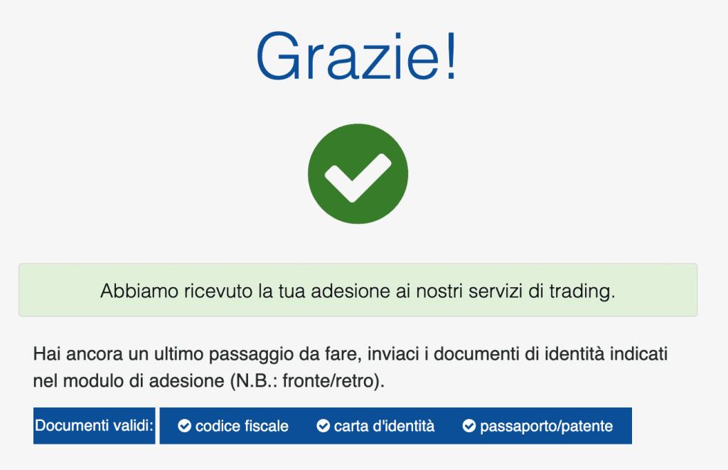 Inseriamo la password e le foto del documento di identità