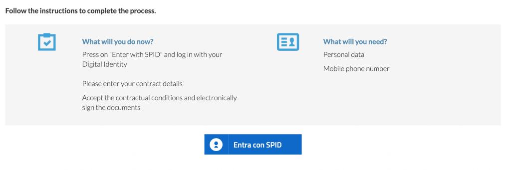 SPID e cellulare per firmare il contratto